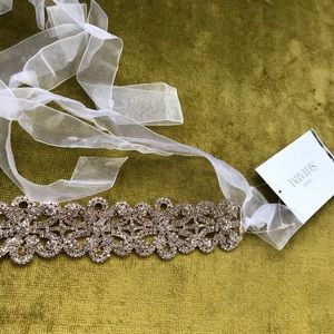 High-Shine Crystal Flower Sash for Wedding Dress